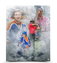 WAYNE GRETZKY & TIGER WOODS Dual Signed Rarefied Air Print LE of 100 UDA.