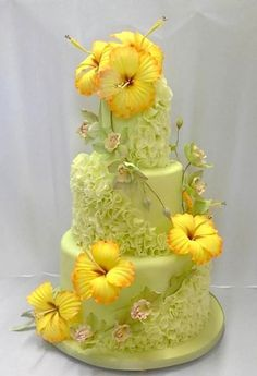 Love these sugar flowers.green cake not so much. White cake white any flower color! Gorgeous Cakes, Pretty Cakes, Cute Cakes, Amazing Cakes, Crazy Cakes, Fancy Cakes, Pink Cakes, Unique Cakes, Creative Cakes