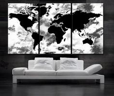 Large 30x 60 3 panels art canvas print world map black white large 30x 60 3 panels art canvas print beautiful world map black gumiabroncs Choice Image
