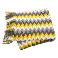 NEW Rio. Grey White Yellow Chevron Sofa Blankets Throws Rugs