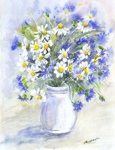 Margerytki z chabrami - Maria Roszkowska WATERCOLOR