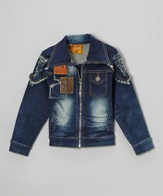 Take a look at this Blue Denim Distressed Jacket - Toddler & Boys by Rock'n Style on #zulily today!