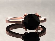 Natural Black Diamond Engagement Ring Black Diamond Ring 14k or 18k Rose Gold Matching Wedding Band Available W17BKDR by WinterFineJewelry on Etsy https://www.etsy.com/listing/258619519/natural-black-diamond-engagement-ring