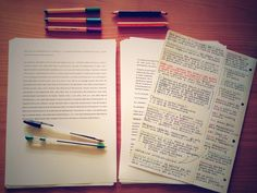 blackmessydesk: Study session with double column notes method. It's going on pretty good, so far.