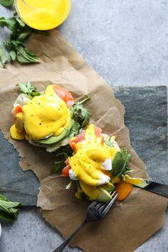 Paleo Eggs Benedict with Smoked Salmon, Avocado and Easy Turmeric-Ghee Hollandaise
