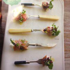 Serve bite size food on mismatched vintage forks