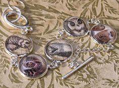 Owl Bracelet Victorian Images Silver Plated Owls of Ga'hoole Barn Owl | SecondNature - Jewelry on ArtFire