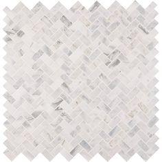 MSI Calacatta x Cressa Herringbone Honed Marble Mosaic Tile in White Stone Mosaic Tile, Marble Mosaic, Mosaic Wall, Mosaic Glass, Mosaic Tiles, Wall Tiles, Beveled Glass, Marble Subway Tiles, Honed Marble