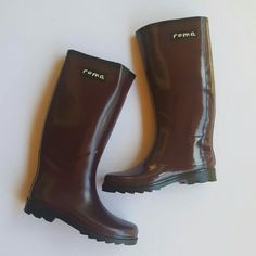 """☔ Roma Rain Boots ☔ BNWOT. Get ready for those April showers!! I bought these and there was a scuff on the back of each boot, due to improper packaging. You can see the marks in pic 4. Bought new for $95. Price is FIRM!! Other than the marks, which aren't terrible, these are perfect. The color is a dark purple and black.  •glossy finish •medium width •great sole (excellent traction) •quick dry lining •1"""" heel. 15.5"""" calf circum. 13"""" shaft Roma Shoes Winter & Rain Boots"""