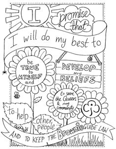 UK Brownie Promise colouring sheet. Created by @emyb Emy Buxton