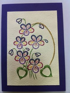 Embroidery Cards, Cross Stitch Embroidery, Embroidery Patterns, Hand Embroidery, Stitch Patterns, Paper Piercing Patterns, Pin Card, Sewing Cards, Thread Art