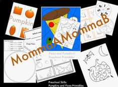 Pumpkin and Pizza PreK Printables & Activity Cards by MommaAMommaB Set includes: Color-By-Number: Pizza Slice Use with markers or crayons in the following colors: green, black, red, blue, yellow, brown. Color recognition, matching, fine motor, art Pumpkin Playdough Cards: square, circle, oval, rectangle Can your student roll out orange playdough to create shapes like on the 4 cards? Laminate for use over and over! Shapes recognition and fine motor Pumpkin Patch Alphabet Match Color cut a Foam Shapes, Foam Pumpkins, Color Copies, Create A Recipe, Letter Recognition, School Themes, Tot School, Motor Activities, Writing Instruments