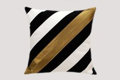 "Thick Cotton Black-White diagonally striped Throw pillow case with Gold accent, fits 18""x 18"" insert,  Cushion case, Toss pillow case."