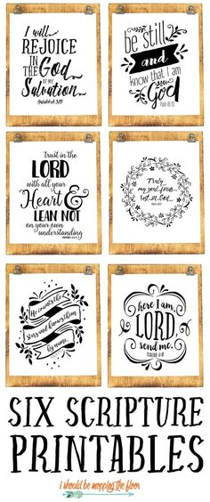 Six Beautiful Scripture Printables | These six black and white scripture printables are the perfect addition to any decor.