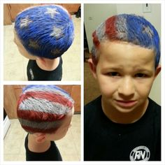 Easy to do Patriotic hair for crazy hair day. All you need are your 3 colors, p. Easy to do Patrio Crazy Hat Day, Crazy Hair Day Boy, Crazy Hair For Kids, Crazy Hair Day At School, Crazy Hats, Pastel Ombre, Ombre Blond, Wacky Hair Days, Costumes