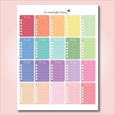 Happy Planner Pastel Full Box To Do Checklists | Printable Planner Stickers for The Happy Planner by MAMBI - Instant Download by HummingbirdPlanner on Etsy https://www.etsy.com/listing/239006615/happy-planner-pastel-full-box-to-do