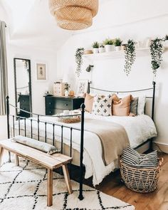 Primer apartamento bohemio ideas de decoración de dormitorio para que vea . - Ideas de decoración de dormitorio bohemio de primer apartamento para que vea - Bedroom Makeover, Room Decor Bedroom, Bedroom Decor, Home Living Room, Bedroom Interior, Bedroom Inspirations, Dorm Room Decor, Home Bedroom, Home Decor