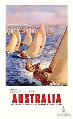 'Sailing Sydney Harbour NSW' Australia c.1930s  http://www.vintagevenus.com.au/vintage/reprints/info/TV649.htm