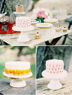 I like the fun mix of cake stands & the scale ~ check out Tin Roof Farmhouse rentals for your celebration: http://www.tinrooffarmhouse.blogspot.com/p/vintage-rentals.html - Rustic Watercolor Wedding Inspiration