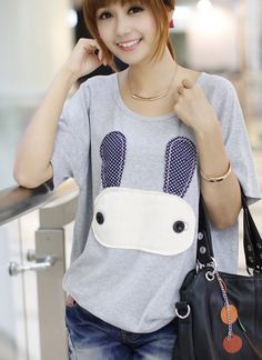 Korean Style Round Collar Cartoon Rabit Printed T-shirt