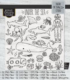 64 Under the Sea Clipart Silhouette Png, Black Silhouette, Under The Sea Drawings, Under The Sea Clipart, Shark Illustration, Drawn Fish, Fish Ocean, Illustrator Cs5, Photo Album Scrapbooking