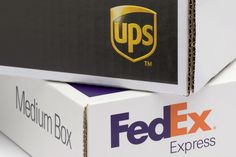 FedEx Express and UPS (United Parcel Service) branded shipping boxes