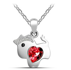 Lovely Pony Pendant Inlaid Heart Crystal Women Necklace
