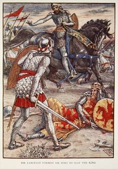 Sir Lancelot forbids Sir Bors to Slay the King, from 'Stories of the Knights of the Round Table' by Henry Gilbert, first edition, 1911 by Walter Crane