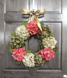 Spring Wreath with Pink, Green and Green Hydrangeas!  Several colors of ribbon available.  Please visit my boutique to view and/or purchase!