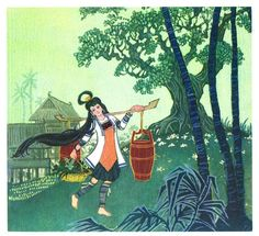 Huang Jing, from a series of illustrations for THE LONG-HAIRED MAIDEN, 1986.