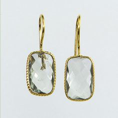 Juliet Roger Clear Quartz Rectangle Earrings