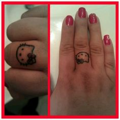 Hello Kitty finger tattoo