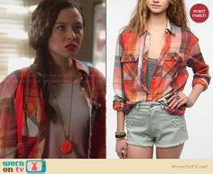 Julia's orange plaid shirt on Star-Crossed.  Outfit Details: http://wornontv.net/29340/ #StarCrossed