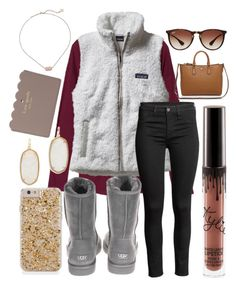 """""""It's the most wonderful time of the year❤️"""" by jadenriley21 on Polyvore featuring Patagonia, UGG Australia, Ray-Ban, Tory Burch, Kendra Scott and Kate Spade"""