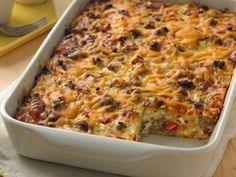 The all-American breakfast bake gets a slow-cooker makeover! This savory sausage and egg breakfast casserole is the perfect way to feed a big brunch crowd—picky eaters and all. Breakfast Casserole Easy, Breakfast Bake, Breakfast Dishes, Breakfast Recipes, Breakfast Ideas, Breakfast Crowd, Casserole Ideas, Breakfast Specials, Overnight Breakfast