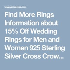 Find More Rings Information about 15% Off Wedding Rings for Men and Women 925 Sterling Silver Cross Crown Cubic Zirconia Ring Jewelry Couple Rings Uloveido J412,High Quality couple tshirt,China couple usb Suppliers, Cheap couple bed from Uloveido Official Store on Aliexpress.com