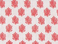 Red Vallmo is reproduced from an original block print dated as 1741. Printed cottons became more common for women's clothing as the 18th century progressed.