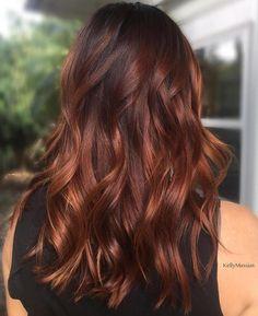 Hair Color Highlights, Hair Color Dark, Hair Color Balayage, Cool Hair Color, Hair Colors, Color Red, Brown Hair With Red Highlights, Copper Balayage Brunette, Auburn Highlights