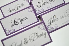Wedding Candy Labels Sweet table tags escort cards