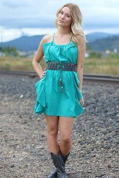 Teal Racerback Rayon Ruffled Dress