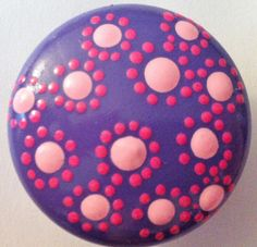 Purple Flower Dresser Knob - Handpainted Wooden Knob. $5.00, via Etsy.