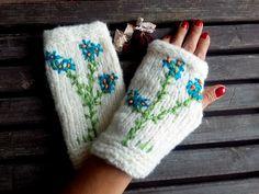 Knitted Gloves, Crochet, Ivory White, Hand Warmer, Winter Gloves, Flowers Gloves, Knit Women Gloves Arm Warmers, Gift Ideas, Christmas Gift by YASEMINYASEMIN on Etsy