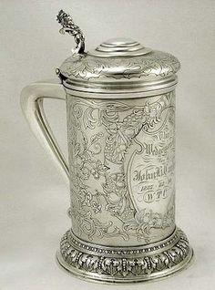 Gorham acid-etched sterling silver trophy tankard c1885 (supershrink)