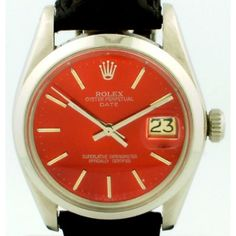 Vintage 1979 Rolex Stainless Steel Automatic Date Watch with Custom Red Dial