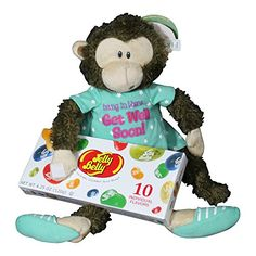 Get Well Gifts  8 Cuddly Marvin Monkey Hang In There Plush Get Well Soon Gift with Jelly Belly Jelly Beans >>> To view further for this article, visit the image link.
