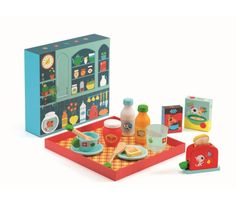 Kids will love to bring you breakfast in bed with this lovely wooden breakfast set by Djeco. Featuring a toaster and toast, cereal boxes, juice and. Toaster, Traditional Toys, Play Shop, Jus D'orange, Juice Bottles, Breakfast In Bed, Pretend Play, Little Gifts, Marmalade