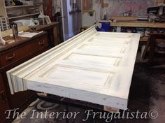 Distressed Paint Finish On Old Door Turned Into A Headboard   The Interior Frugalista
