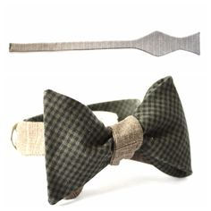Men's Custom Neckwear and Accessories handmade in the US - Light Brown Stripped Suiting Fabric -Panel TWO