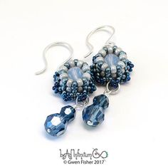 Mini Crown Beaded Earrings Sterling Silver Wire Blue Jeans