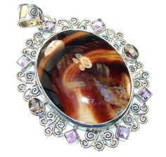 $74.50 Stylish! Brown Agate Sterling Silver Pendant at www.SilverRushStyle.com #pendant #handmade #jewelry #silver #agate